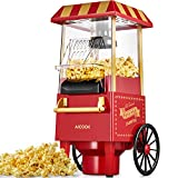 Aicook Machine à Pop Corn, 1200W Retro Machine à Popcorn avec Air Chaud, Sans Gras Huile, Facile á L'utilisation, Rouge