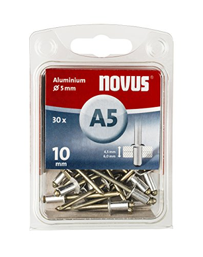 Novus Aluminium-Blindnieten 10 mm Länge, 30 Nieten, Ø 5 mm,  4.5-6.0 mm Klemmlänge, für Nichteisen Metall und Leder