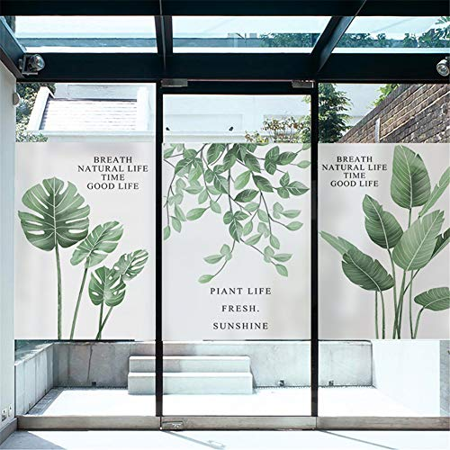 40x60cm窓用フィルム2枚組めかくしシートガラスフィルム目隠しフィルム植物風緑葉装飾フィルム無接着剤静電気水で貼れる再利用可能B