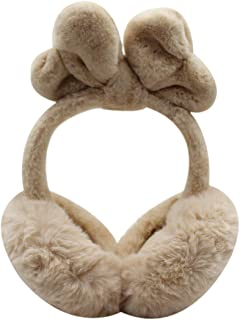 Winter Women Foldable Faux Fur Earmuffs Cute Bowknot Plush Headband Ear Warmers for Teen Girls Ladies