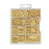 HangDone Nails Assortment 600-Pieces 6 Sizes, Brass Plated