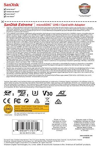 SanDisk Extreme - Tarjeta de memoria microSDXC para cámaras de acción de 128 GB con hasta 160 MB/s, Class 10, U3 y V30