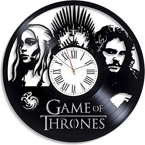 Juego De Tronos Reloj De Pared Retro Idea De Regalo De Cumpleaños para Fan Juego De Tronos Reloj De Pared Reloj De Vinilo Vintage Reloj Sin Luz Led