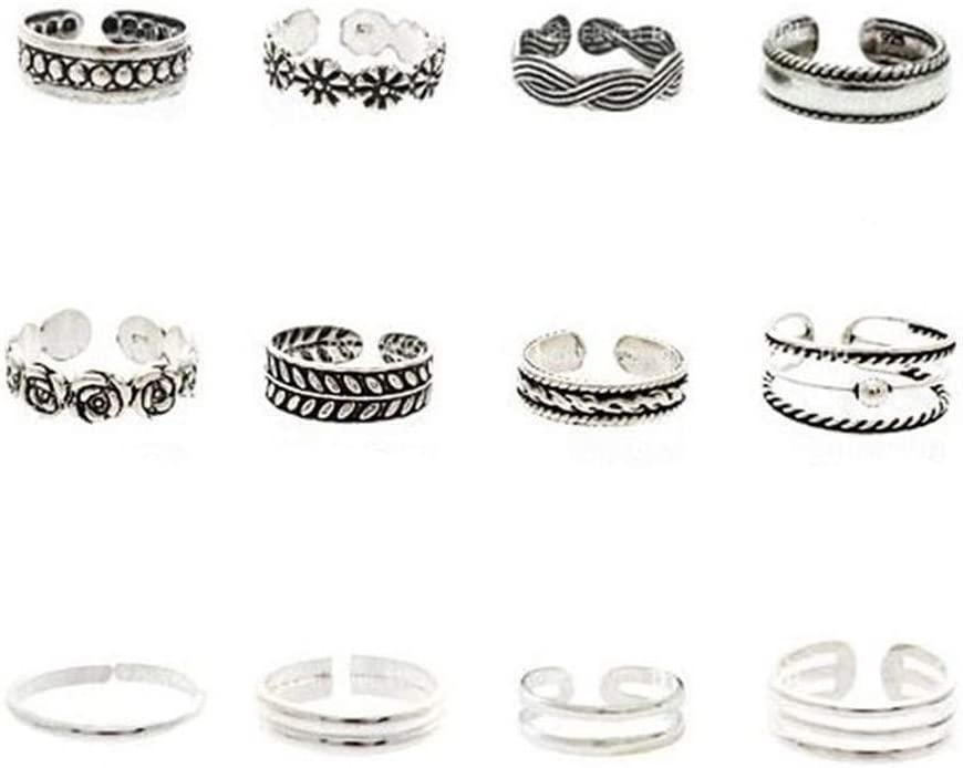 Sevenfly 12 Pcs/Set Classic Vintage Carved Adjustable Toe Rings Bohemian Summer Charm Open Foot Finger Ring