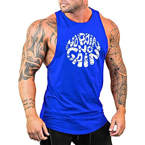 GymLeader Men's Gym Workout Stringer Tank Tops NO Pain NO GAIN Vest Bodybuilding Fitness Muscle Shirts-XL Blue