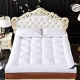 zyl Colchón de Cama Tatami colchón de Dormir portátil Suave y Plegable Colchón de futón Transpirable Grueso japonés para Acampar Individual Doble (Color: Blanco Tamaño: Queen: 150x200cm)