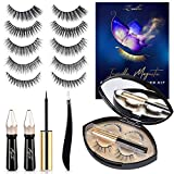 Upgraded Invisible Magnetic Eyelashes with Eyeliner, ZOIBV 7 Pairs 5D Magnetic Eyelash Kit with Applicator & Natural Looking Magnetic Eyelashes No Glue Needed 2 Magnetic Eyeliner Applicator Tool