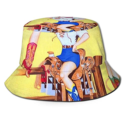 Yearinspace Sombrero de pescador unisex para adultos, sombrero de vaquera salvaje del oeste, gorra de sol,...