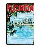 Retro City Florida Golfo De México Shabby Chic Carteles De Chapa Lienzo Póster Bar De Pared Restaurante Arte del Hogar Decoración 40X50Cm (Jn2791)