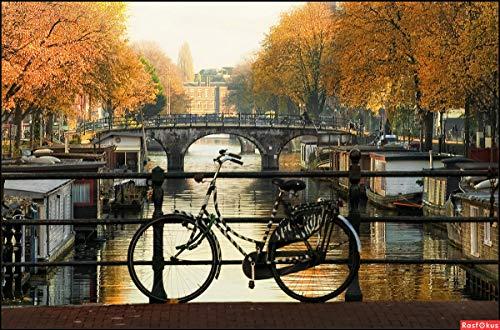 Modsjj 5D Diamant Painting Bilder Vollbohrer_Amsterdam Fahrrad Diamond Painting 30x40cm_Kristall Strass Stickerei Kreuzstich Art Crafts Wand Decor