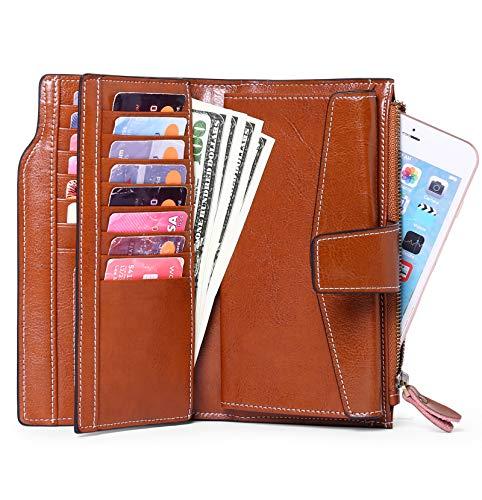 SENDEFN Women Leather Wallets RFID Blocking Clutch Card Holder Ladies Purse with Zipper Pocket 3