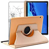 ebestStar - kompatibel mit Huawei MediaPad T5 10 Hülle Tablet 10.1 Rotierend Schutzhülle Etui Ständer, Rotating Hülle Cover, Gold + Panzerglas Schutzfolie [T5 10.1: 243 x 164 x 7.8mm, 10.1'']