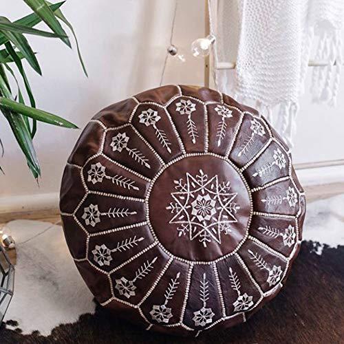 Marokkanischen Leder Boden Sitzkissen,Pouf Hocker Ungefüllt Marrakech Galerie Handgefertigt Leder Poufs 22''X 14'',Für Wohnzimmer Schlafzimmer Hochzeit-A 55 X 35 Cm / 22''x 14''in (diameter X Height)