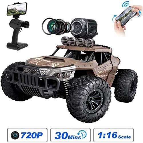 HGYYIO 1:16 Coche Teledirigido Coches RC con Cámara WiFi 720P HD FPV,Teledirigidoeléctrico Off Road Monster Truck,Vehículo De Juguete para Adultos Y Niños