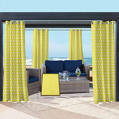 ParadiseDecor Yellow Extra Long Curtains for Pergola/Sunroom Geometrical Abstract Design Elements Retro Style Revival Chevron Triangle Motifs Yellow White 104W x 63L Inch