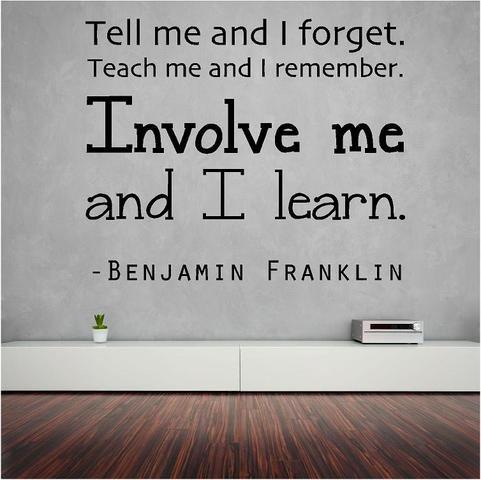 Benjamin Franklin Wand-Schriftzug – Tell me.Involve me and I Learn – Bildung Vinyl-Aufkleber | 50,8 x 50,8 cm [ED1] Englisch dunkelblau