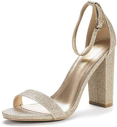 DREAM PAIRS Women's Hi-Chunk Gold Glitter High Heel Pump Sandals - 8.5 M US