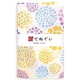 彩(irodori) ガーゼ手ぬぐい 花水玉 パープル 和調色 二重袷 ほつれ防止加工 約32×88cm