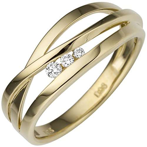 JOBO Damen Ring breit 585 Gold Gelbgold 3 Diamanten Brillanten 0,08ct. Goldring Größe 58