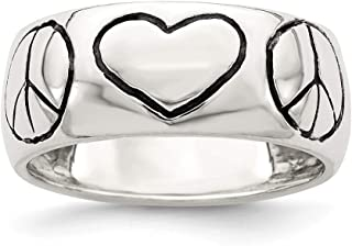 925 Sterling Silver Polished Antiqued Finish Peace Sign with Heart Ring