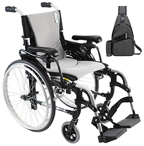 Karman S-Ergo 305 Ultra Lightweight Ergonomic Wheelchair | Adjustable Seat Height | Seat Size 16' X 17' | Frame Color Pearl Silver & Free Black Medical Utility Bag!