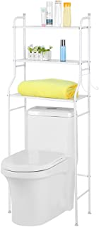 Ejoyous 3 Tier Over The Toilet Shelf, Free Standing Bathroom Toilet Shelf Organizer Metal Storage Rack Space Saver with Hooks, No Drill or Damage to Wall - White
