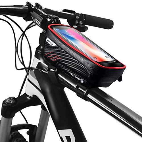 FASTTRADE Borsa da Telaio o Manubrio per Tutte Le Bici, Touch Screen e Porta Cellulare, Impermeabile, Porta Smartphone Bici Borse Biciclette per iPhone 12 XS/X/Samsung S9/S8/S10/S11 Fino a 6,5'