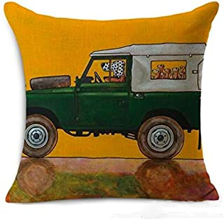 Petite Lili Decorative Pillow Case with Dog Driver Design,Cushion Cover - Bed/Kids/Sofa 18 x 18 inch, (Green Land Rover) Cover ONLY