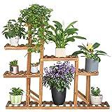 unho Estantería para Plantas Soporte de Madera para Flores con 8 Estantes Estantería Decorativa de...