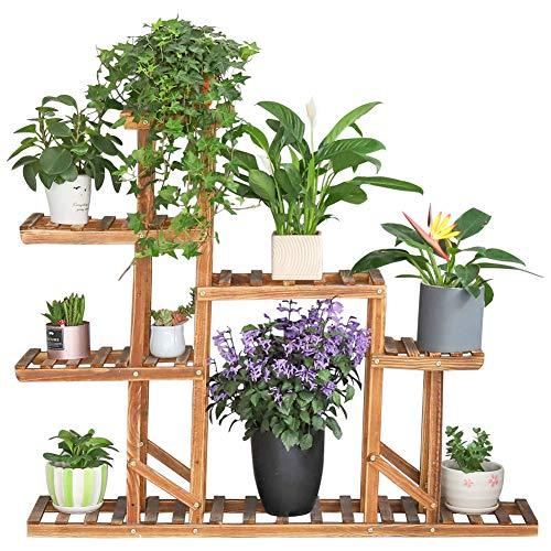 unho Estantería para Plantas Soporte de Madera para Flores con 8 Estantes Estantería Decorativa de Macetas para Exterior Interior Balcón Jardín 115 x 97 x 25cm