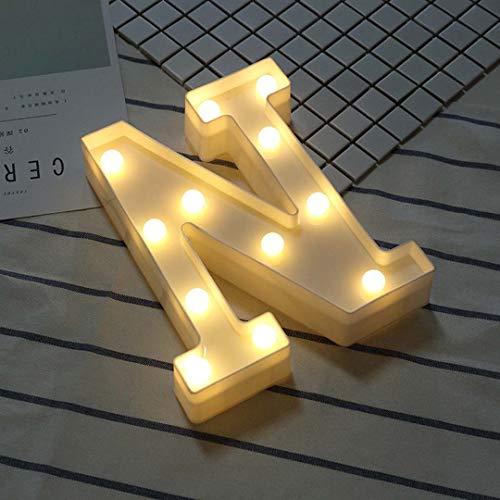 26 Buchstaben Buchstaben LED Nachtlicht, Für Nachtlicht Hochzeit Geburtstag Party Batteriebetriebene Weihnachtsbeleuchtung Home Bar Dekoration,N