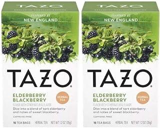 Tazo Foragers Elderberry Blackberry Herbal Tea 16 Count Tea Bags. Caffeine Free. 2 Pack