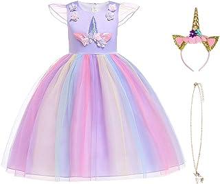URAQT Ragazza Vestito Unicorno, Ruffles Fiori Festa Cosplay Abito da Sposa Carnevale Ballo Abito Festa di Compleanno Vesti...