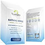 Rinse Free No Shower Bathing Wipes (40 Pack) | Individual Travel Gym Waterless Adult Body Bath Wash Cloths with Aloe Vera & Vitamin E - 40 Packs