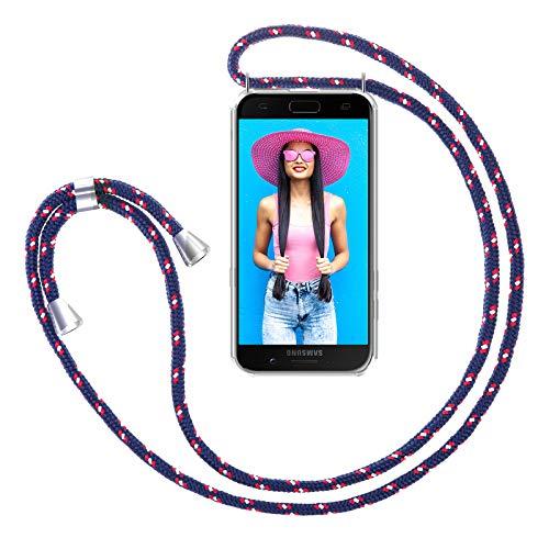 ZhinkArts Handykette kompatibel mit Samsung Galaxy A5 2017 (A520) - Smartphone Necklace Hülle mit Band - Handyhülle Case mit Kette zum umhängen in Navy - Blau