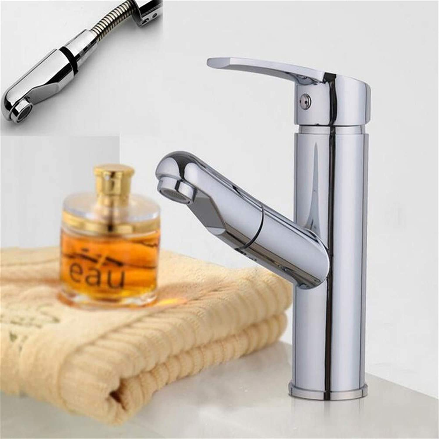 Bathroombasin Mixer Tap Copper Hot and Cold Washbasin Faucet Bathroom Counter Basin Pull Faucet Wash Shampoo Artifact