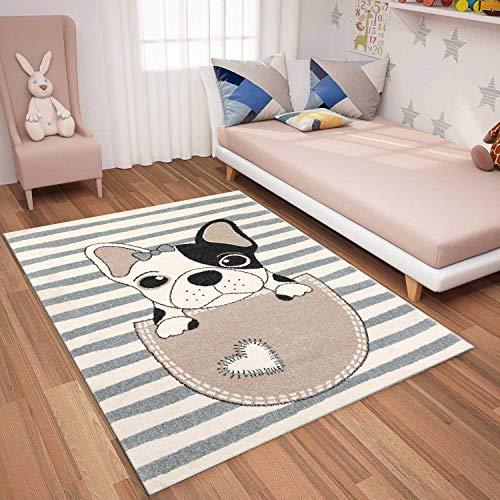 Paco Home Tapis Enfant Rond XXL 180/cm /Ø 160/cm /Ø 120/cm /Ø Arc-en-Ciel Licorne Beige Color/é Dimension:/Ø 120 cm Rond