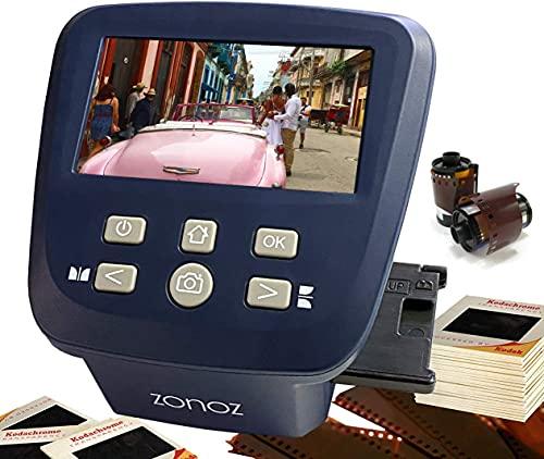zonoz FS-Five Digital Film & Slide Scanner - Converts 35mm, 126, 110, Super 8 & 8mm Film Negatives & Slides to JPEG - Includes Large Bright 5-Inch LCD & Easy-Load Film Inserts Adapters