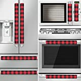 ZAWAGIIK Christmas Refrigerator Handle Covers Set of 8 Red and Black Buffalo Plaid Christmas Handle Cover Decorations Kitchen Appliance Handle Covers for Fridge Microwave Oven Dishwasher