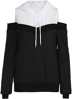 HGWXX7 Women Hoodie Sweatshirt Off Shoulder Long Sleeve Hooded Pullover Tops Blouse