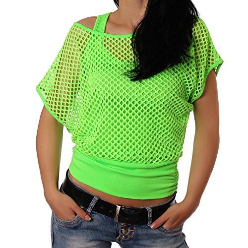 Crazy Age Frauen Partytop Sommertop Netzoberteil Trend 2016 in Neonfarben Jetzt auch in L/XL (L/XL, Neongrün(AMA))