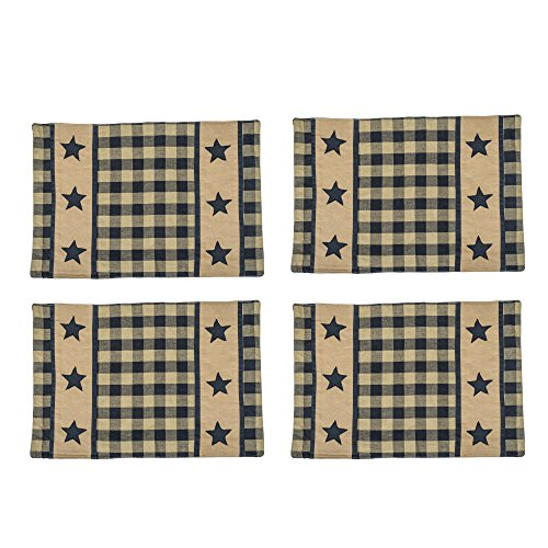The Country House Collection Black and Ivory Black Star Check Plaid 13 x 19 All Cotton Placemat Pack of 4