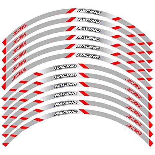 SGYANZLG Ruedas Delanteras y traseras de la Motocicleta Edge Etiqueta Exterior de la llanta de Rot Stripe Reflectante Calcomanías de la Rueda para fit for Yamaha XJ6 (Color : B Red)