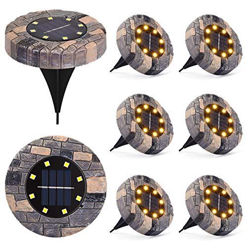 LUNSY Luz solar de tierra, luces solares al aire libre, resistencia a la compresión de resina, 8 LED Solar Garten Light para camino, patio, pasarela, camino, césped, camino (8 unidades)