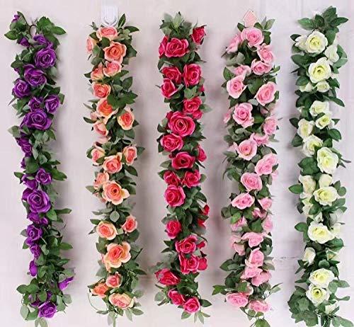 YYCVVH Enredaderas Artificiales Bastón de Rosa Decorativa para Decoración Hogar Escalera Ventana Balcón Valla Jardín Boda Mesa Fiesta Interior y Exterior 6 Palos