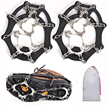 1 Perpetual Deals 23-Spike Ice Cleat Snow Safety Traction Cleats for Men or Women,Flexible Silicone Frame, Tensioning Straps, Storage Bag for Hiking, Walking, Climbing, Jogging, Fishing, Running