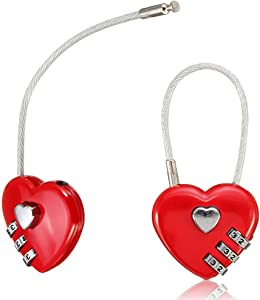 1Pcs 3 Digit Heart Shaped Combination Password Safety Lock Love Couple Travel Luggage Resettable Combination Padlock Love Lock Wish Lock for Wedding Favor