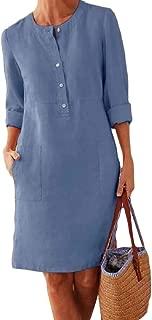 Women's Fashion Linen Retro Button Blouse Loose Tunic Dress with Pockets