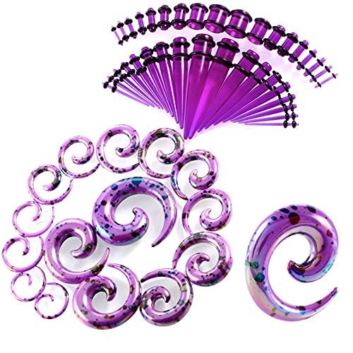 AIUIN 52 Piezas Expansión del oído Vértebras apicales Dilatadores de Oreja Acrílico Estiramiento de Orejas (Púrpura)