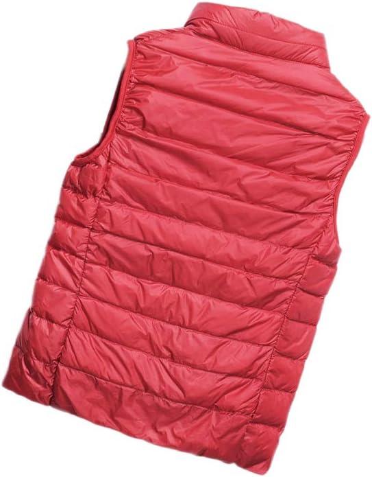 HONGBI Mujer Corto Chaleco de Invierno Ultraligero Chaqueta Plumifero sin Mangas Plegable Chaleco de Plum/ón Cremallera C/álido Abrigos Plumas Compresible Chalecos Acolchado Exteriores Down Vest